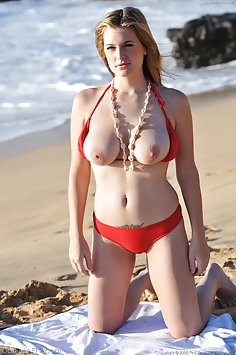Danielle plays at the beach