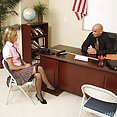 Naughty blonde school girl wraps warm lips around professors package - image
