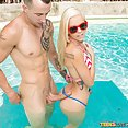 Cute Little Blond Finds Big Cock in the Pool - image