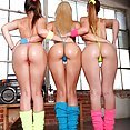 three girls teasing - image