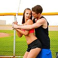 Jillian Janson Batting Practice With His Big Bat - image