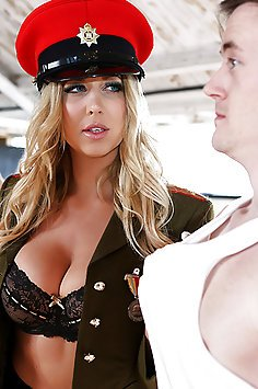 Busty Drill Sargeant Sucks His Cock