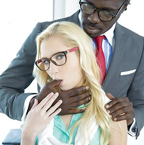 Tiny Blond Odette Delacroix Takes a Big Black Cock