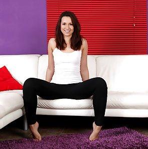 fine amateur spreads her legs exposing her moist cunt