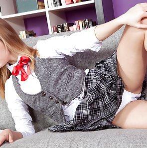 Rachel James Flashes Her Schoolgirl Panties and Tiny Tits