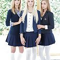 Three Schoolgirls fucked by Big Black Cocks Side By Side - image