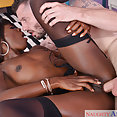 Ebony Babe Loves His Big White Cock - image