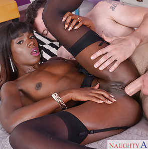 Ebony Babe Loves His Big White Cock