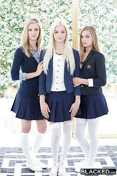 Three Schoolgirls fucked by Big Black Cocks Side By Side